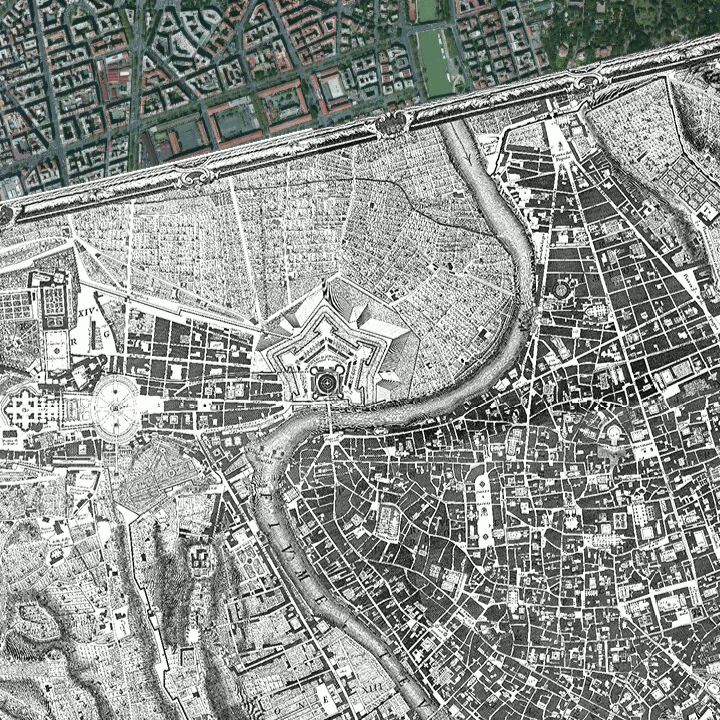 The position of the vatican city and the historic city center of Rome in Giovanni Battista Nolli's map